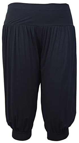 (FF11) Mujer 3/4 Harén Alí Babá Holgado Pantalones Anchos Pantalón Recortado Para Dama Pantalones cortos Leggings – Negro, EU S/M 36-38