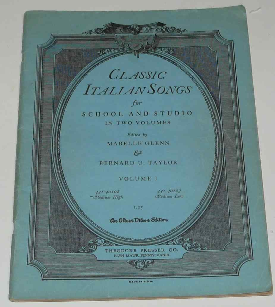 Download Classic Italian Songs for School and Studio, Vol. I: Medium High pdf