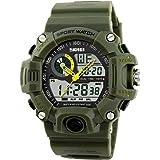 Orologio da uomo sportivo a LED, multifunzione, stile militare, resistente all'acqua (colore verde)