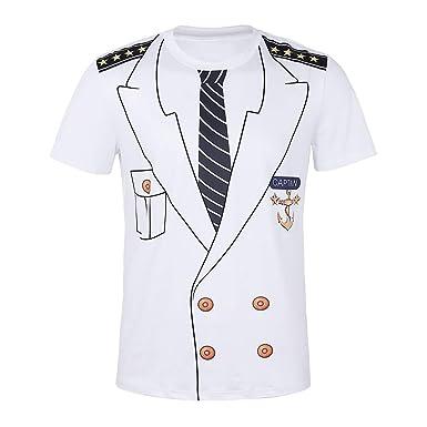 4e5104388e141 iEFiEL Herren Kurzarm T-Shirt Kapitän Kostüm 3D-Druck Muster Top Shirts  Marine Kapitän