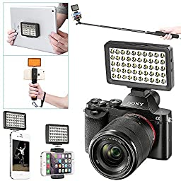 Neewer 50 LED Portable Multi-Functional MINI LED Video Light for Selfie Stick,Hand Grip,iPad,iPhone 6/6s/5s/5/4s/4,Samsung,Canon/Nikon/Sony A7 A7S A7R A7II and Other Camera with Standard Hot Shoe