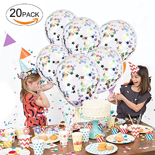 Confetti Balloons 20 Pcs, 12 Inch Premium Color Balloons Filled with Bright Rainbow Pentagram Confetti for Christmas, Birthday Party, Wedding and Festival Decoration Creating Happy Atmosphere
