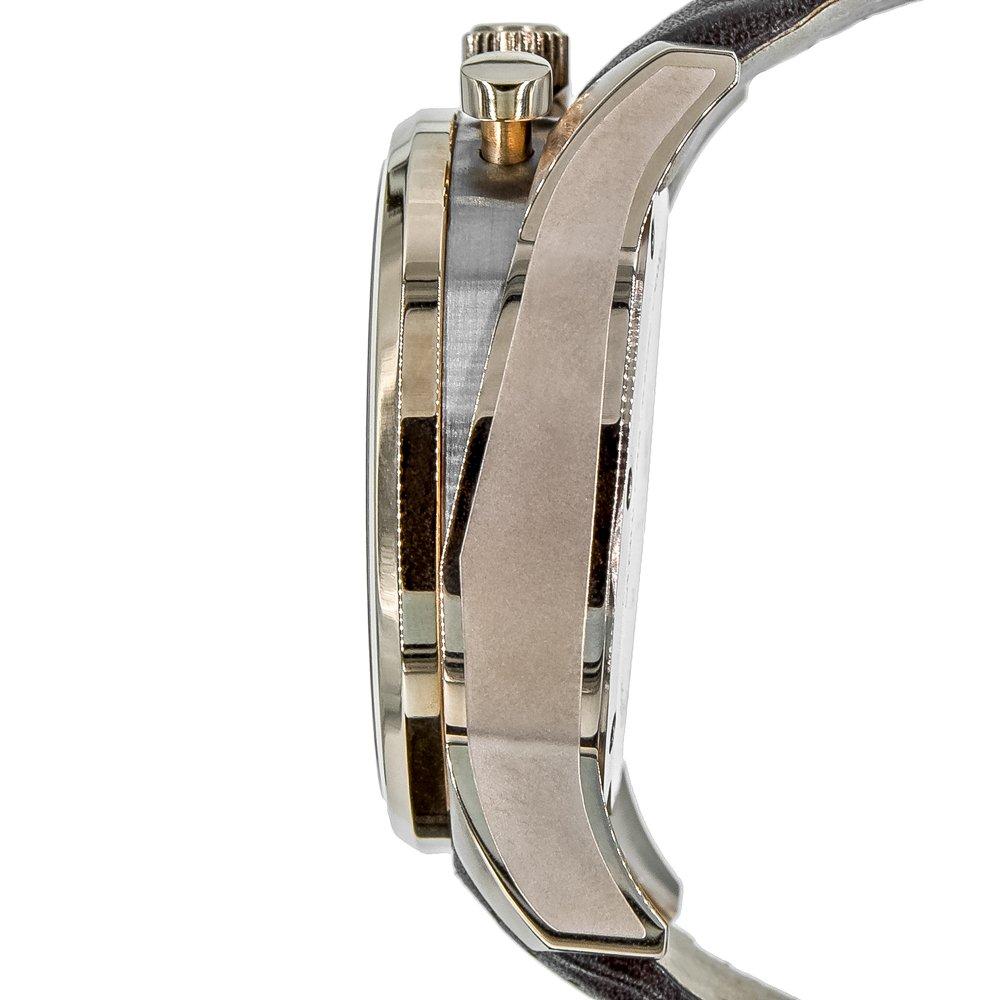 FALLSTONE Men s Japan Movement Quartz SS Case Analog Waterproof Wrist Watch Genuine Leather Band Strap, Calendar Date, Bronze and Silver