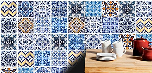 Wall Tile Stickers Hydraulic Pattern Decals (Pack with 32) (4 x 4 inches)