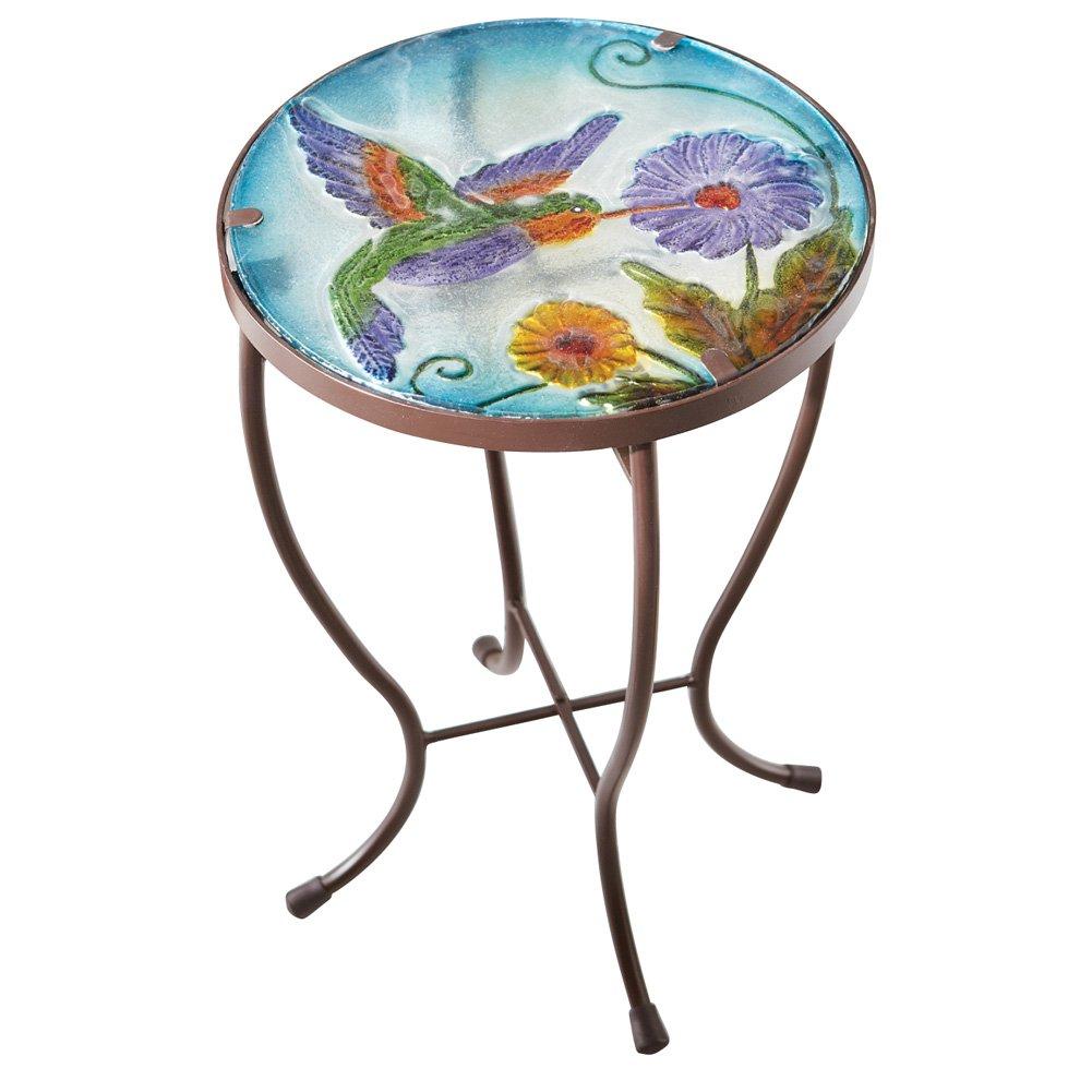 Benzara Deco 79 Console Hummingbird Round Glass Metal Indoor Outdoor Garden Patio Accent Table, Mosaic