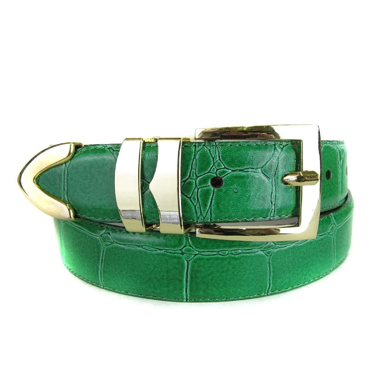 hot Green Bonded Alligator Skin High Quality Fashion Dress Belt save more