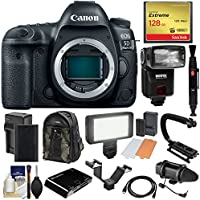 Canon EOS 5D Mark IV 4K Wi-Fi Digital SLR Camera Body with 128GB CF Card + Battery & Charger + Backpack + Flash + LED Video Light + Microphone + Kit