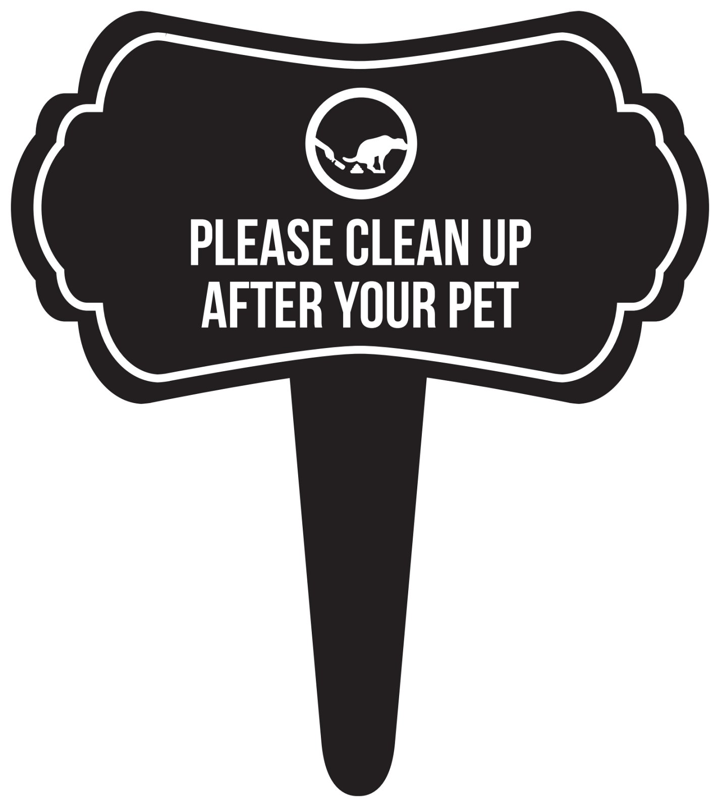 iCandy Combat Please Clean Up After Your Pet Home Yard Lawn Sign, Black, 16x18, Single