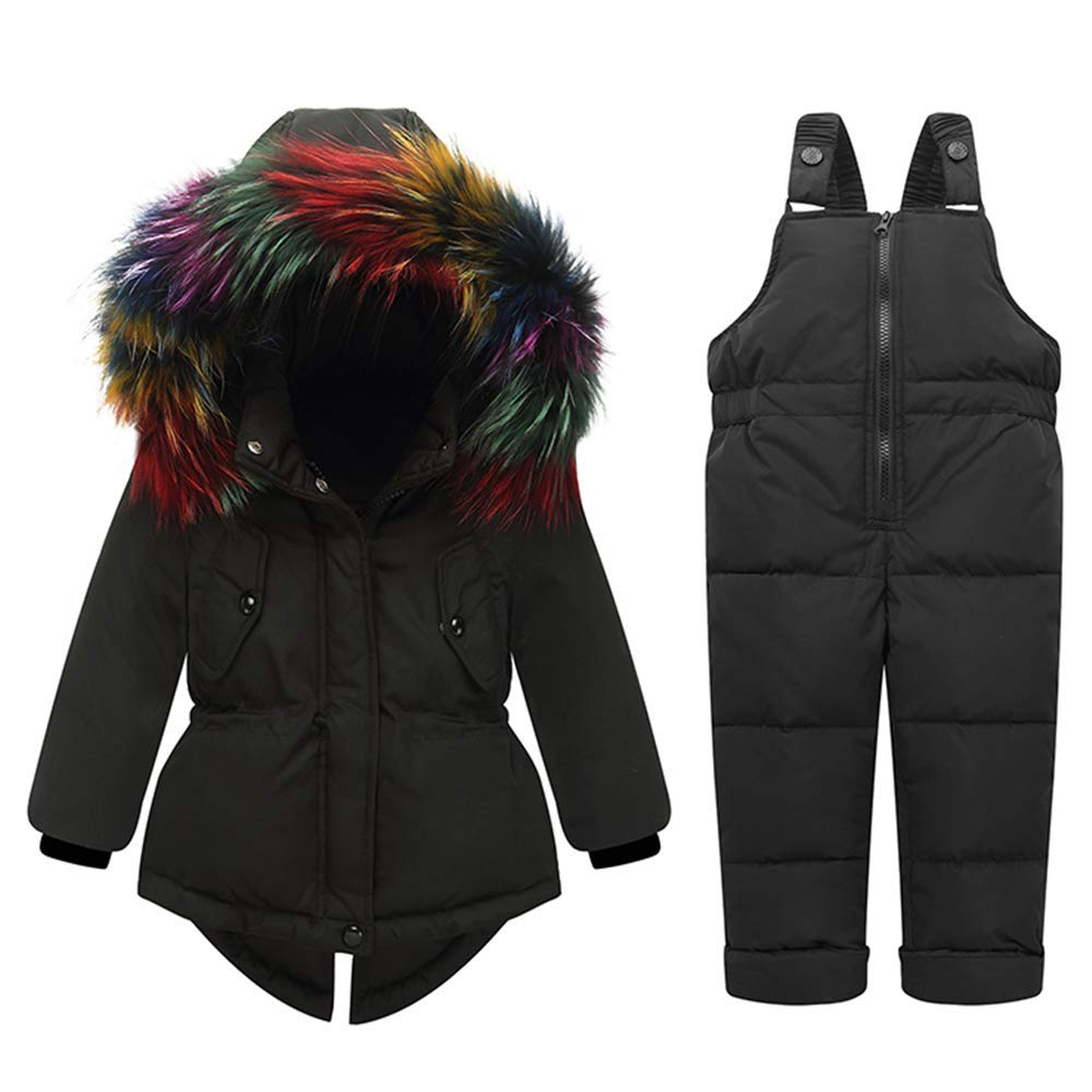 ZPW 2018 New Baby Boy Girl Snowsuit Winter Down Coat/Snow Bib Pants Colorful Fur Trim Hooded Suits