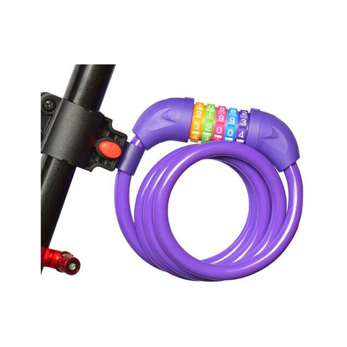 HUIJUNWENTI Mountain Bike Lock, Manganese Steel Lock, Sturdy Electric Lock, Anti-Theft Chain Lock, Chain Lock, Combination Lock, Blue, Purple, Black, Pink Safe and Reliable,