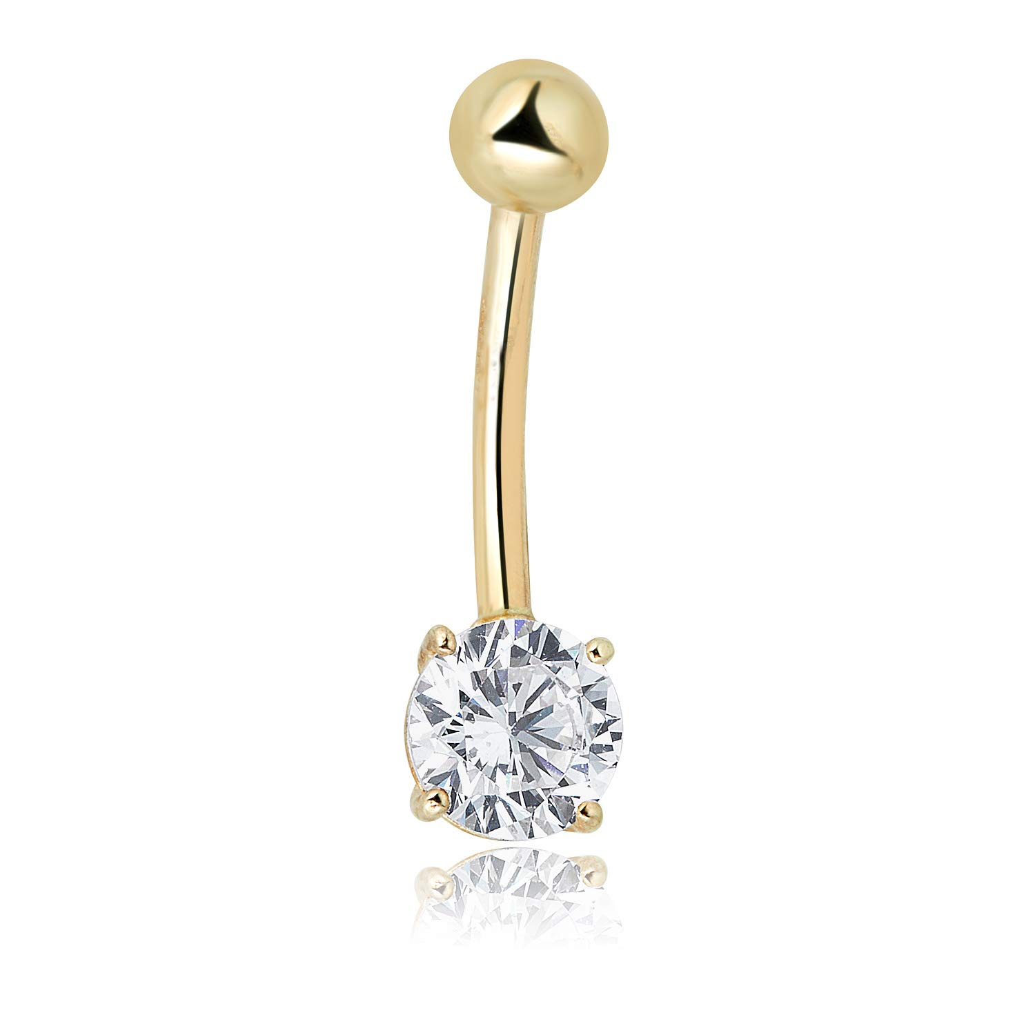 AVORA 10K Yellow Gold Simulated Diamond CZ Solitaire Belly Button Ring Body Jewelry - 014 Gauge by AVORA