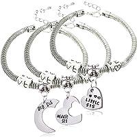 lauhonmin 3pcs Big Sis Middle Sis Little Sis Love Heart Charm Pendant Bracelet Set Family Jewelry Sister