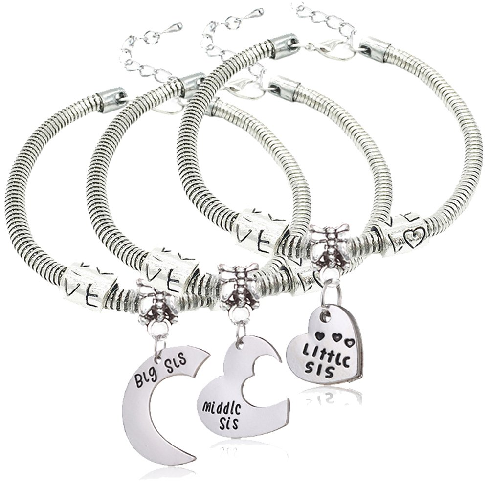 Bangle Bracelets Set Big Sis Middle Sis Little Sis Love Heart Charm Pendant Family Gift for Sister 3pcs lauhonmin B0642-0643-0644-CA