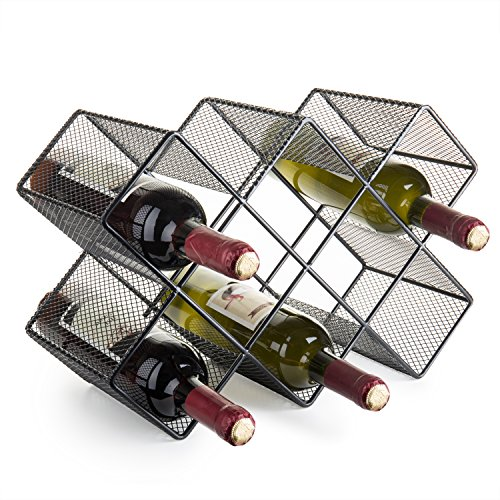 - MyGift 8-Bottle Modern Black Metal Mesh Countertop Wine Rack