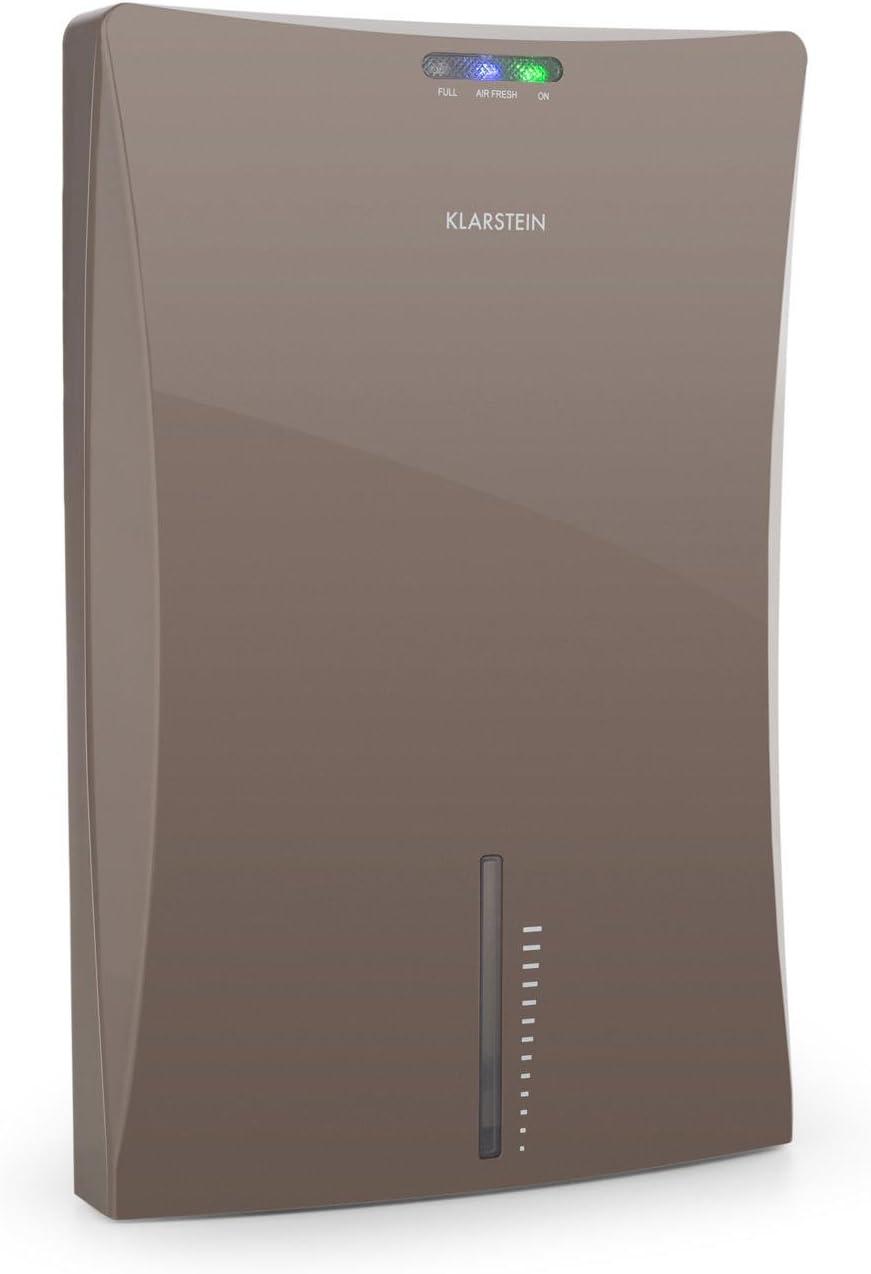 Klarstein Drybest 2000 2G Deshumidificador - Purificador, Deshumidificador eléctrico, 0,7L/24h, bajo Consumo 70 W, silencioso, Depósito de 2 L, Ionizador Integrado, Gris