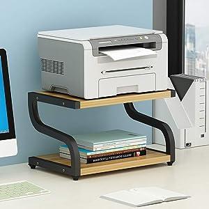 PUNCIA Office Desktop Laser Multifunction Printer Copier Scanner Shelf Stand Rack with Anti - Skid Pads for Desktop Organizer Storage Shelf Double Tier Tray for Microwave Oven Potted Plants (Black)