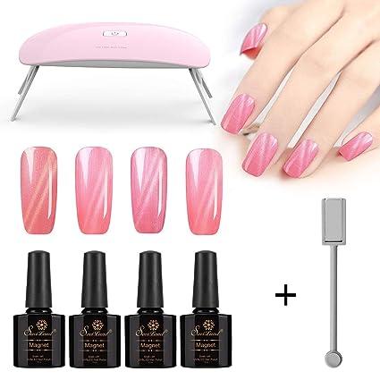 Saviland - Esmalte de uñas de gato rosa con luz UV/LED USB, 3