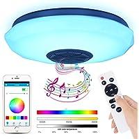 Lámpara De Techo Led Con Altavoz Bluetooth, 36W Moderna Luz De Dormitorio Integrada En El Techo, Iluminación Rgb De…