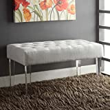 Stefania White Fabric Acrylic Leg Bench