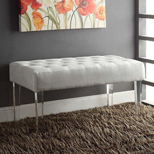 Stefania White Fabric Acrylic Leg Bench
