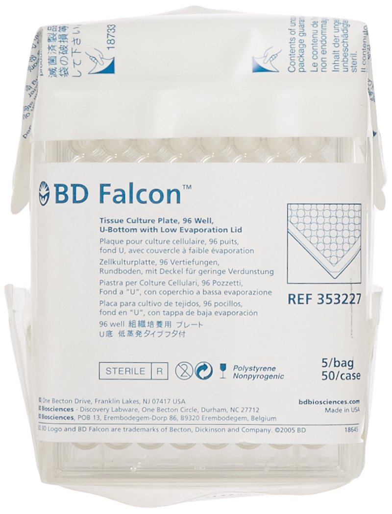 bd 353227 falcon clear polystyrene sterile 96 well tissue culture