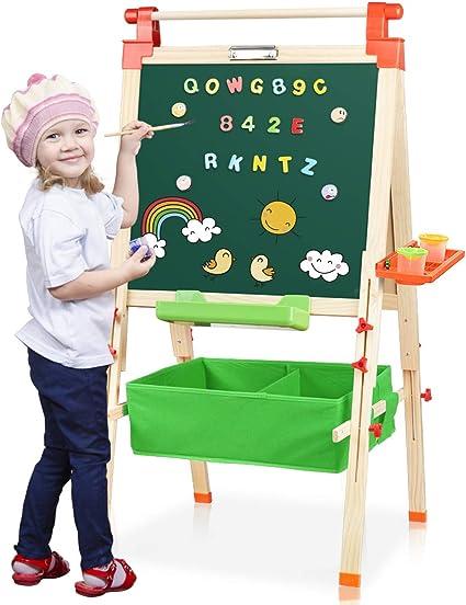 Joyooss 3 In 1 Kids Wooden Art Easel With Bonus Kids Art Supplies Double Sided Children Easel Chalkboard Magnetic Dry Erase Board Toddler Easel