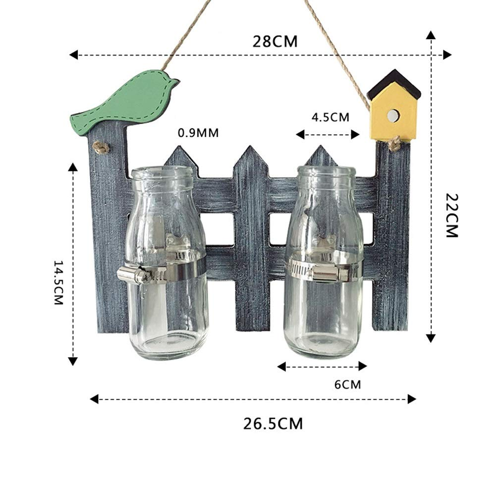 XYQS American Country Retro H-Board Hanging Plant Hydroponic Creative Home Wall Wall Hanging Pendant Glass Bottle for Living Room Cafe Clothing Store Decoration (Size : Double Bottle)