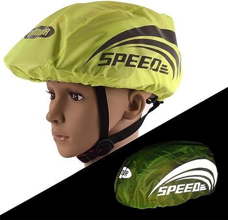 copertura casco bici con striscia riflettente Sicuro alta visibilit/à impermeabile casco da bicicletta Copertura antipioggia per ciclismo ciclismo su strada sport allaria aperta Copertura casco