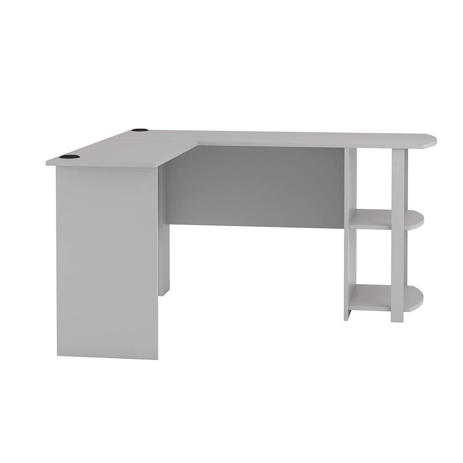 Ameriwood Home Dakota L-Shaped Desk with Bookshelves, Dove Gray