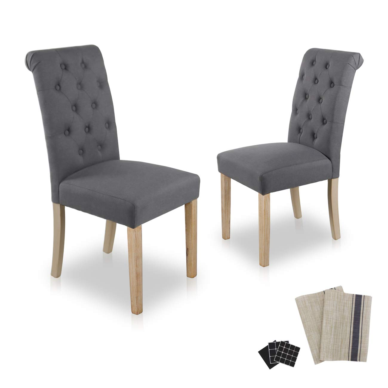 Dining Chairs Set of 2 Fabric Upholstered Lounge Chair Nailed Trim Leisure Padded with Armrest Solid Wood Legs Kitchen & Dining Furniture (Grey Straight Leg-2)