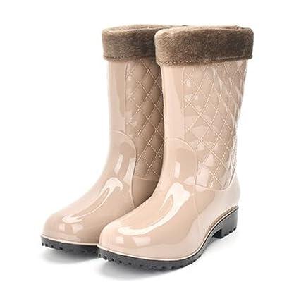 Luise Hoger Pvc Women Rain Boots Girls Ladies Rubber Shoes For Casual Walking Hunting Hunter Outdoor Mid-Calf Waterproof Female Low Heels Khaki 9