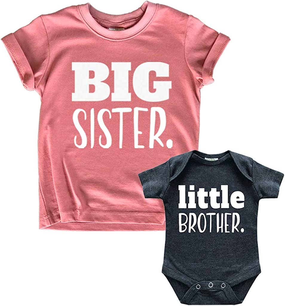 Big Sister Little Brother Outfit Matching Shirts Sets Baby Newborn Outfits Shirt