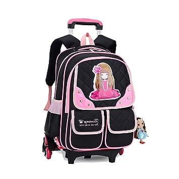 BAG Mochila Trolley para niños Mochilas Escolares para niñas Seis Ruedas Mochilas de Nylon extraíbles para