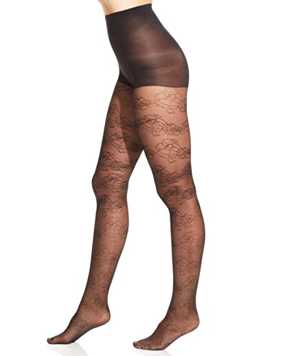 d796a76836c57 Hue Gotta Have It Fine Floral Sheer Tights with Control Top, Black (1 -