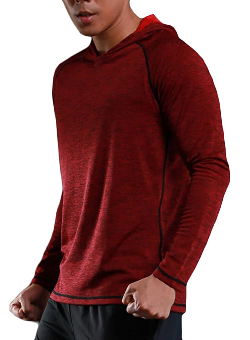 Gnao Mens Athletic Compression Hoodie Training Workout Base Layer Tops T-Shirt