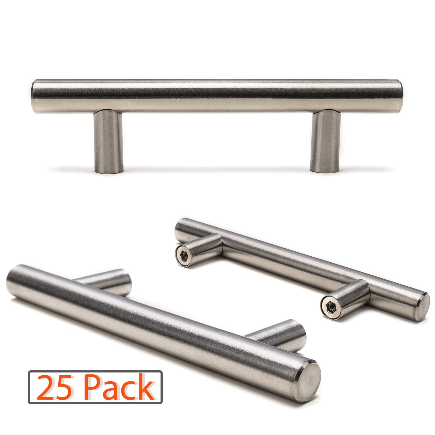 "Ravinte Brushed Nickel Cabinet Pulls, Euro Style Stainless Steel Cabinet Handle/Cupboards Handle/Dresser Handle – 5""Length, 3""Center (25pack)"
