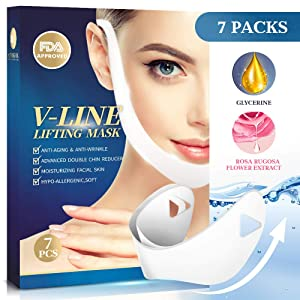 V Line Lifting Face Mask – 7Pcs V Shaped Slimming Double Chin Reducer Lifting Mask – Anti-Aging and Anti-Wrinkle – Powerful Moisturizing - Contour Firm and Tightening – Chin Up Patch for Women and Men