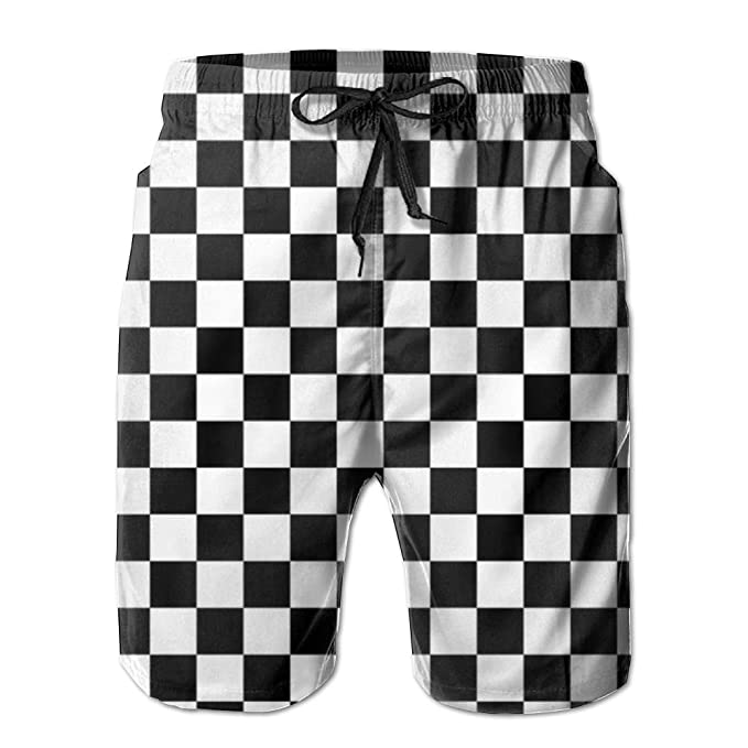 6a080fee683b3 NIBCX-K Black and White Checkered Men's Quick Dry Beach Board Shorts Summer Swim  Trunks | Amazon.com