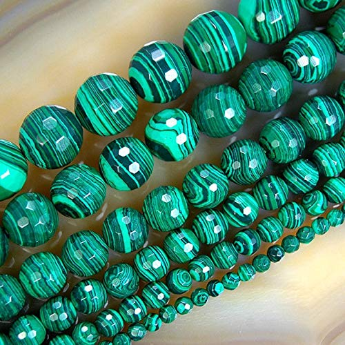 - Natural Faceted Malachite Round Loose Beads for Jewelry Bracelet Necklace Making 15inches/Strand Free 4/6/8/10/12mm - 6mm 61 Pieces Beads