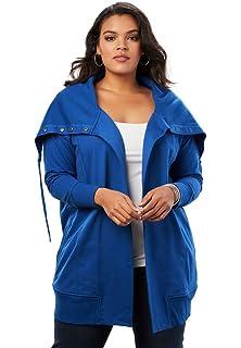 35ddb4c0805 Roamans Women s Plus Size Lightweight Hooded Fleece Jacket at Amazon ...