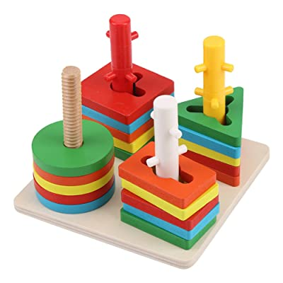 Fdit Geometric Stacker Wooden Educational Toys Wooden Educational Shape Color Sorting Puzzles Preschool Stacking Block Toddler Toys: Home & Kitchen