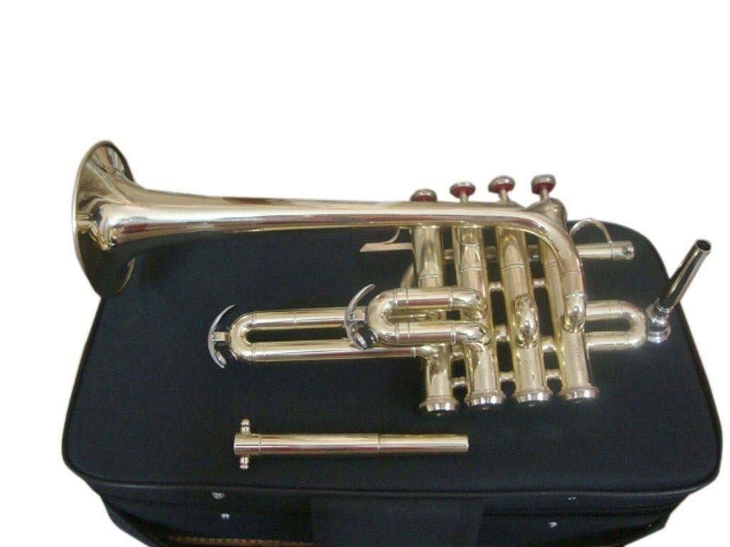 Piccolo Trumpet Brass Finish Picollo Bb/A Pitch W/Case-Mp Gold