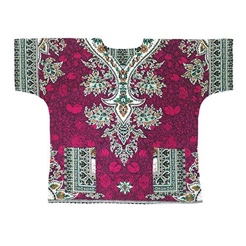 Mens Clothing 1970s - Lofbaz Traditional African Print Unisex Dashiki Ethnic Size XL Magenta