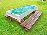 Ambesonne Hamsa Outdoor Tablecloth, Grungy Display with Fatima Hand Flourishing Lotus Meditation Zen Ethnic Culture, Decorative Washable Picnic Table Cloth, 58 X 104 inches, Turquoise White