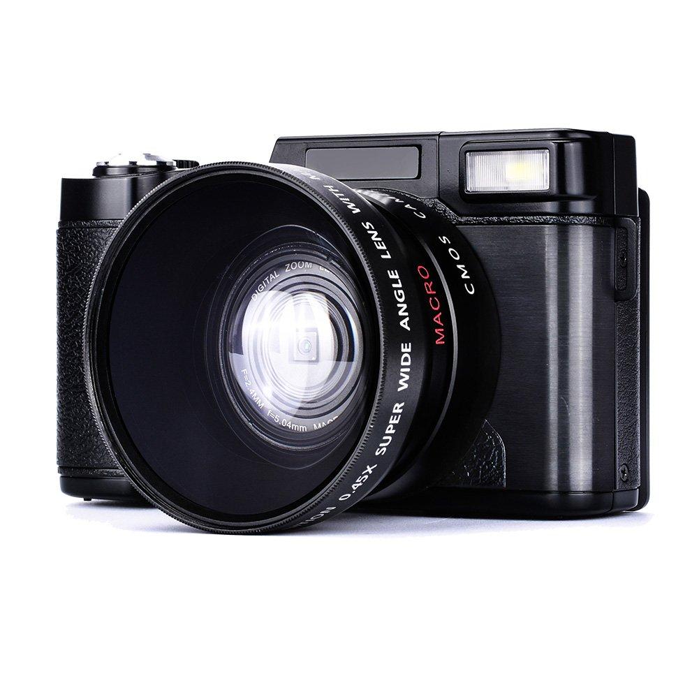 Digital Camera Camcorder Full HD Camcorders 1080p 24.0 Megapixels Vlogging Camera Include 52MM Wide Angle Close Up Lens