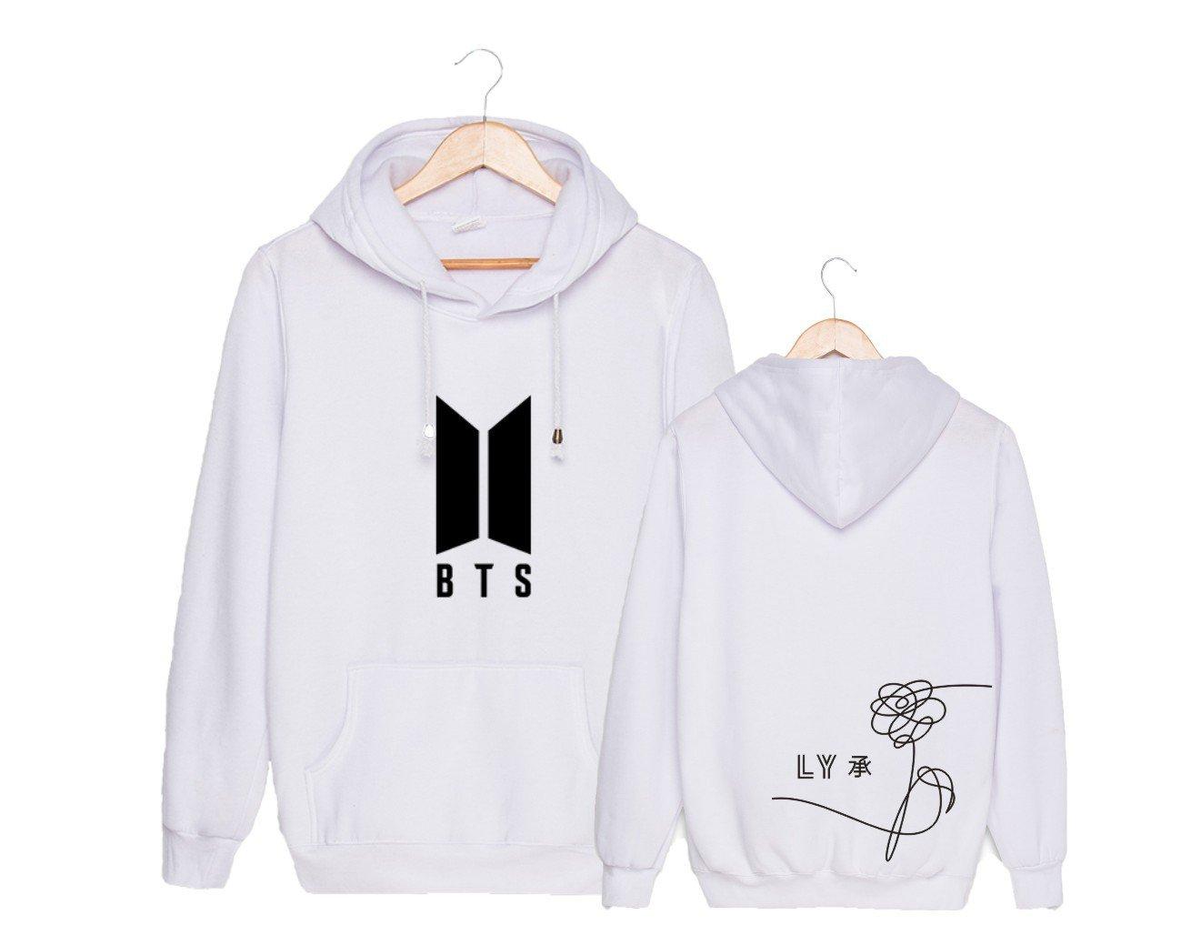 Lifestar Kpop BTS Love Yourself Hoodie JIMIN Rap Monster Sweatshirt Bangtan Boys Pullover (US L= Asia XXL, White)
