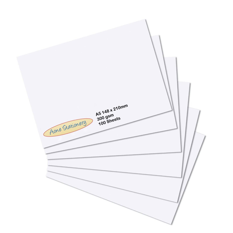 Ark, fogli in cartoncino per stampante in formato A5, in carta spessa di alta qualità e di colore bianco, da 300 g/mq, confezione da 100 A5-300gsm