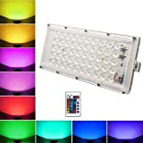 Himack RGB LED Flood Light Multi Color with Remote Waterproof Landscape IP66 (60 Watt)