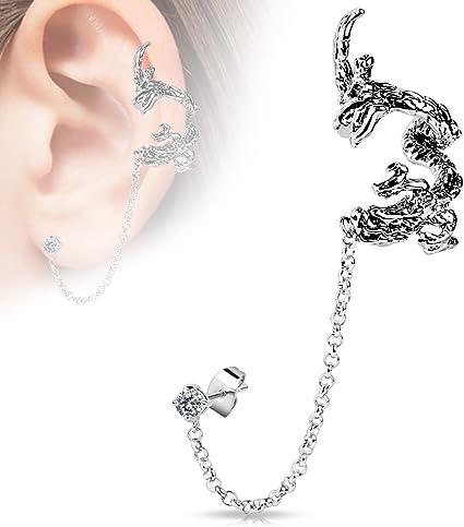 Ohrklemme Ear Cuff Eidechse 925er Sterlingsilber Ohrringe Ohrschmuck A1099