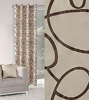 Dekorativ Blickdicht Vorhang Ösen 140x250 Cm LINDA Creme+braun Schlafzimmer  Pflanzen Elegantes Muster